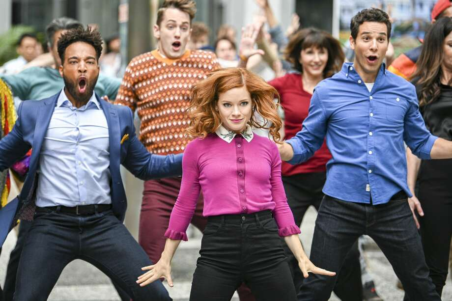 """A still from """"Zoey's Extraordinary Playlist."""" Pictured: (l-r) Skylar Astin as Max; Jane Levy as Zoey Clarke; John Clarence Stewart as Simon. Photo: NBC/NBCU Photo Bank Via Getty Images"""