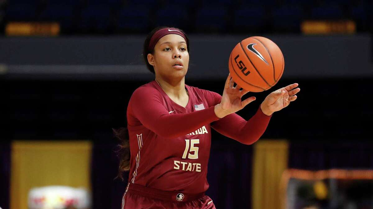 Florida St. forward Kiah Gillespie (15) during an NCAA women's basketball game against LSU on Saturday, Nov. 9, 2019, in Baton Rogue, LA. (AP Photo/Tyler Kaufman)