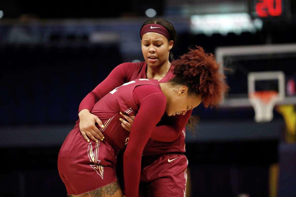 Florida St. forward Kiah Gillespie (15) and Florida St. forward Valencia Myers (32) during an NCAA women's basketball game against LSU on Saturday, Nov. 9, 2019, in Baton Rogue, LA. (AP Photo/Tyler Kaufman)