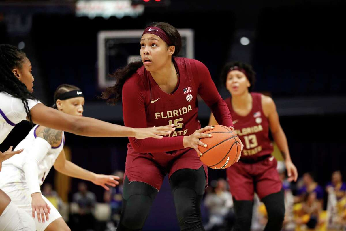 Florida State's Kiah Gillespie (15), a former McDonald's All-American and two-time Gatorade Connecticut Player of the Year, is averaging a near double-double for the Seminoles.