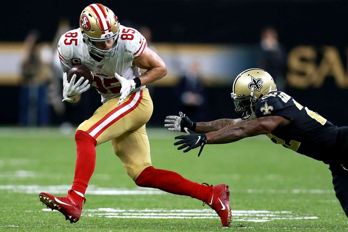 George Kittle #85 of the San Francisco 49ers runs for a first down during a NFL game against the New Orleans Saints at the Mercedes Benz Superdome on December 08, 2019 in New Orleans, Louisiana. (Photo by Sean Gardner/Getty Images)