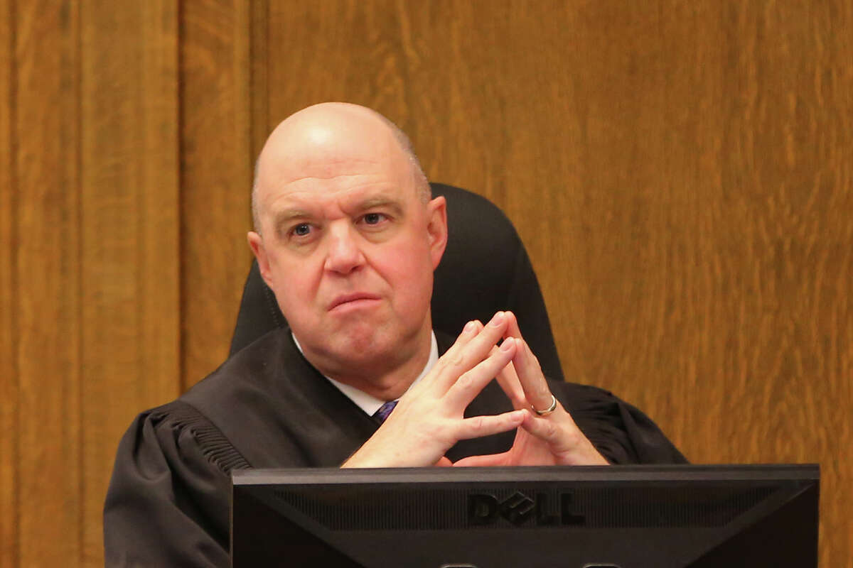 King County Superior Court Judge Sean O'Donnell listens to closing arguments from the prosecution during the third murder and assault trial held for James and Jerome Taafulisia, who were accused of killing two people in the jungle homeless encampment slaying in January 2016, Dec. 9, 2019 at the King County Superior Courthouse.