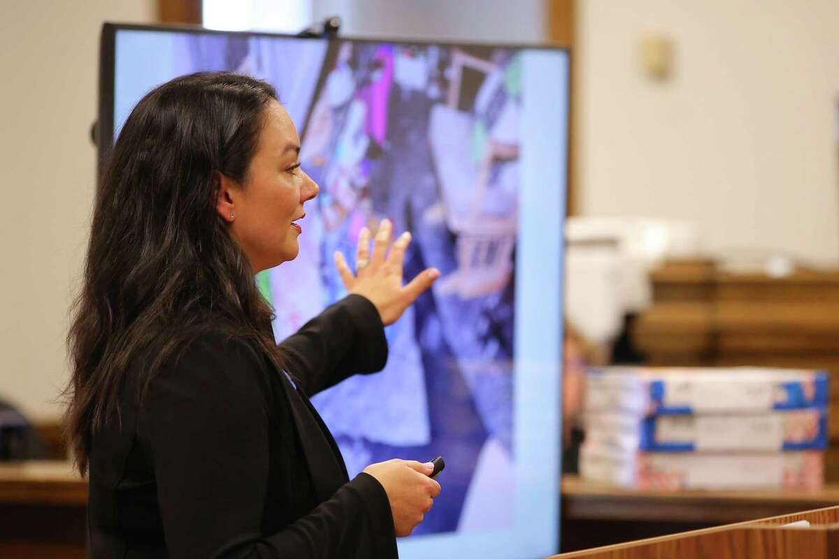 Senior Deputy Prosecuting Attorney Mary Barbosa gives her closing argument during the third murder and assault trial held for James and Jerome Taafulisia, who were accused of killing two people in the jungle homeless encampment slaying in January 2016, Dec. 9, 2019 at the King County Superior Courthouse.