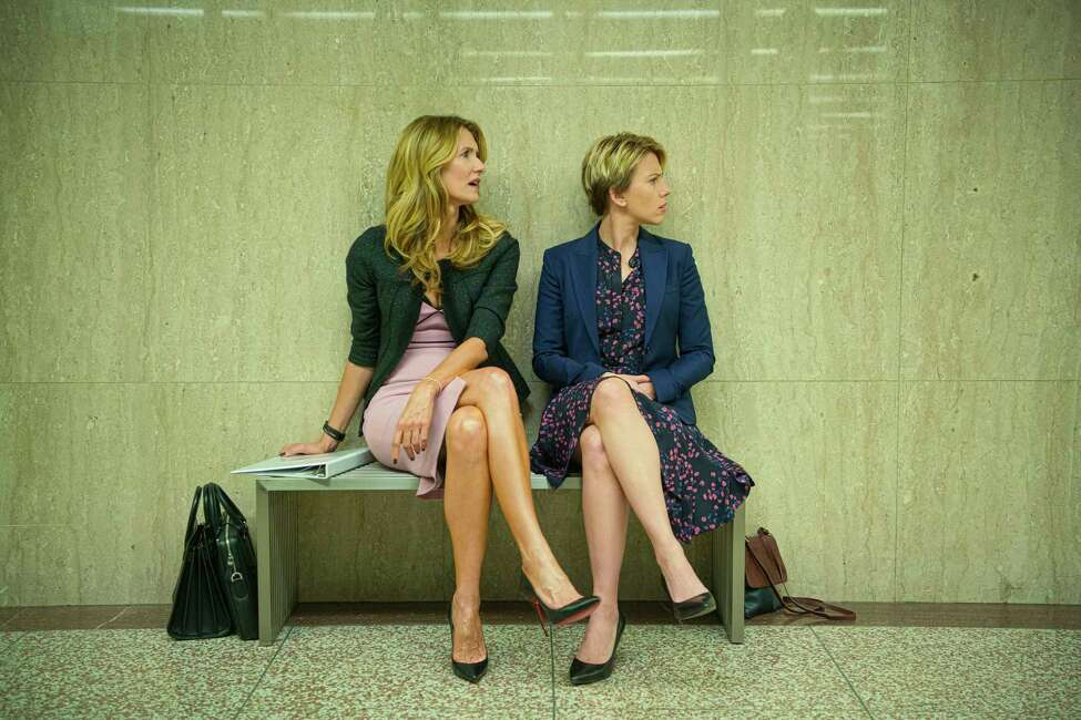This image released by Netflix shows Laura Dern, left, and Scarlett Johansson in