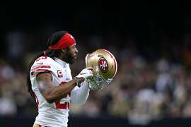 NEW ORLEANS, LOUISIANA - DECEMBER 08: Richard Sherman #25 of the San Francisco 49ers reacts against the New Orleans Saints during a game at the Mercedes Benz Superdome on December 08, 2019 in New Orleans, Louisiana. ~~