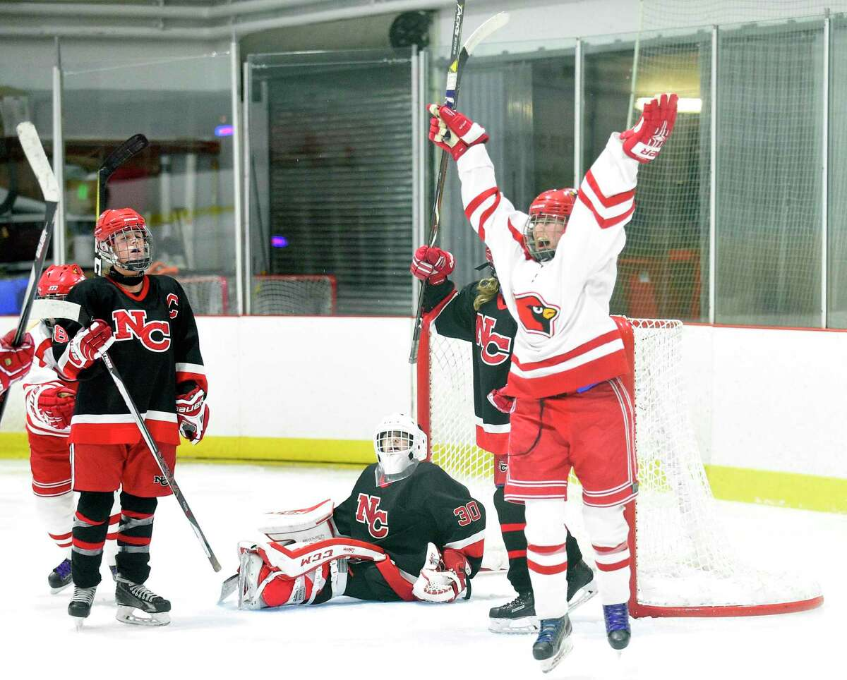 Greenwich's Emma Wingrove (12) scores the winning goal against New Canaan goalie Blythe Novick during the FCIAC girls ice hockey championship at the Darien Ice Rink on Feb. 24, 2018 in Darien. Greenwich won 2-1.