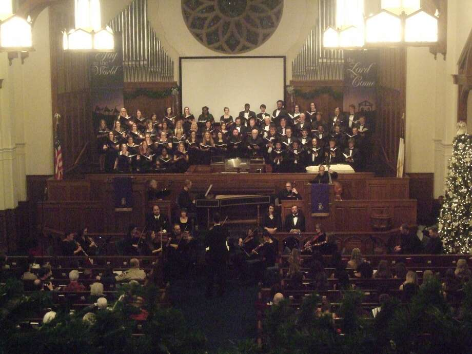"""WBU choirs, along with the Plainview Civic Music Association, performed Handel's """"Messiah"""" Thursday night at First United Methodist Church following the downtown Christmas Parade of Lights.    Photo: Ian Kirk/For The Herald"""