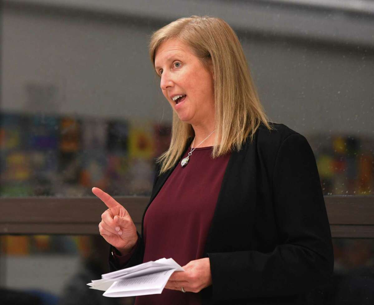 RTM member Cheryl Moss speaks at the Greenwich Democratic Town Committee's special election caucus at Central Middle School in the Cos Cob section of Greenwich, Conn. Monday, Dec. 9, 2019. RTM member Cheryl Moss was selected by caucus voters over former Board of Education member Jennifer Dayton to be the Democratic nominee in the Special Election for the rest of new First Selectman Fred Camillo's term in the State Legislature. The Special Election will be held this January.