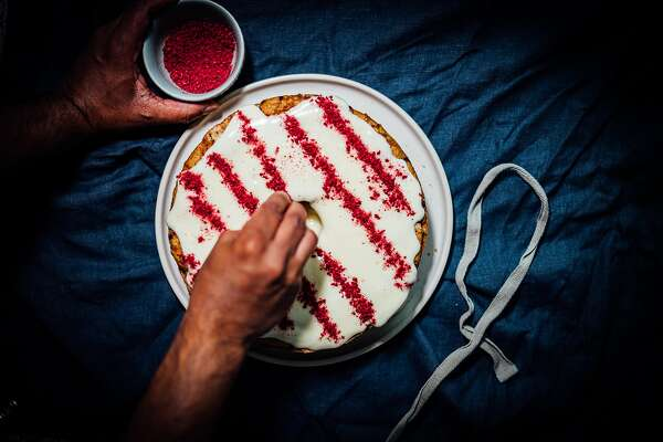 Brown Kitchen: Spiced Cranberry Cake With Raspberry Cream Cheese Frosting