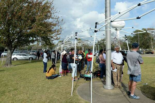 A long line of area residents waiting to file claims at the armory in Port Neches Monday, many bringing chairs to sit in as they wait time was nearly two hours by early afternoon. Photo taken Monday, December 9, 2019 Kim Brent/The Enterprise
