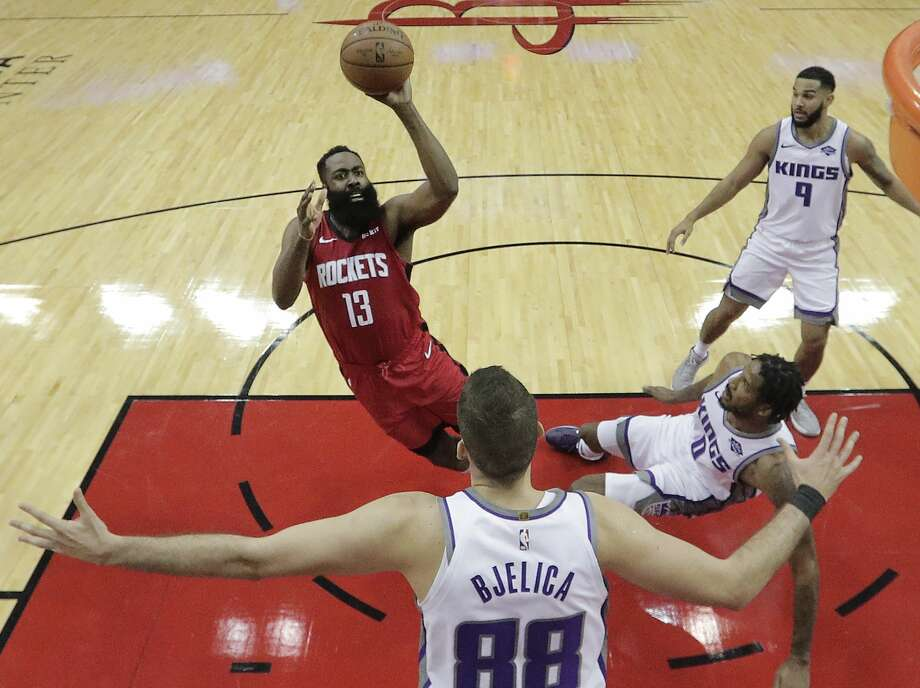 James Harden and the Rockets hit the road for games at Cleveland on Wednesday and Orlando on Friday. Photo: Brett Coomer/Staff Photographer