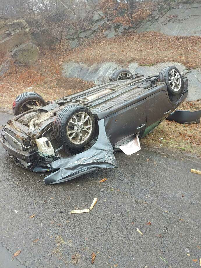 Just after 10 a.m. on Monday, Dec. 9, Echo Hose Hook & Ladder Co. 1 and Huntington Fire Co. 3 responded to a motor vehicle accident rollover on Route 8 southbound a half mile prior to exit 12. Photo: Shelton Fire Department / / Connecticut Post