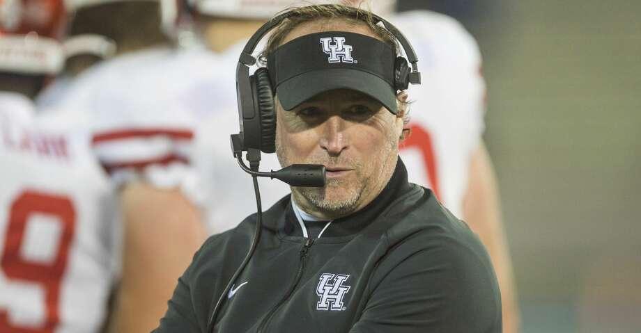 Houston coach Dana Holgorsen looks along the sideline during the team's NCAA college football game against Tulsa on Saturday, Nov. 23, 2019, in Tulsa, Okla. (Brett Rojo/Tulsa World via AP) Photo: Brett Rojo/Associated Press