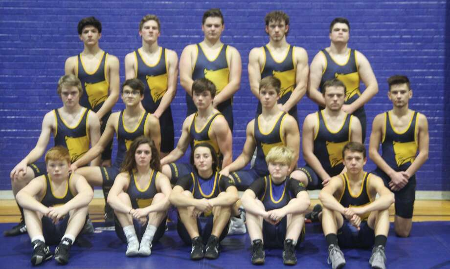 The 2019-2020 Bad Axe wrestling team is, front row, Bobby Durbin, Bailea Kohler, Jolie Brown, Madison Smith and Jordan Osentoski; middle row,  Drayden Romus, Clark Wehner, Jack Hollingsworth, Sam Hass, Devyn Howard and Gavin Tetreau; back row, Ryan Sanchez, Carson Affer, Ben Shuart, Cody Bailey and Aaron Boone. Photo: Eric Rutter/Huron Daily Tribune