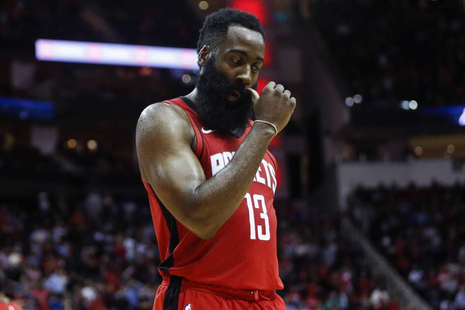 Houston Rockets guard James Harden (13) walks to the edge of the court after Sacramento Kings guard Buddy Hield hit a 3-pointer to tie the game late in the fourth an NBA basketball game at Toyota Center on Monday, Dec. 9, 2019, in Houston.