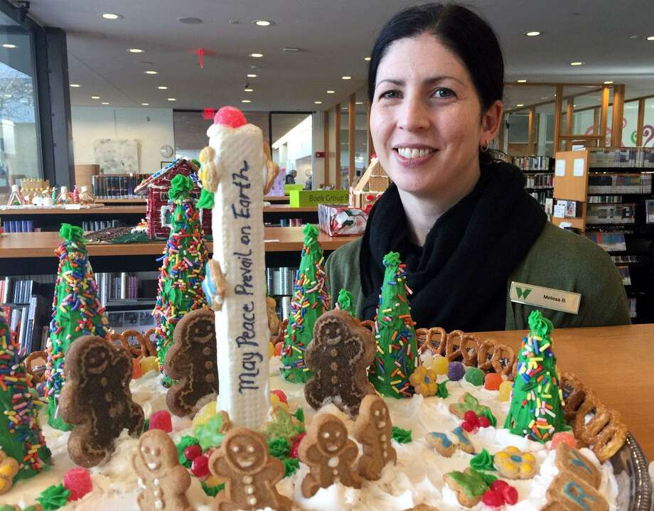 Melissa Baker, Wilton Library's media and digital services librarian, organized the How Sweet it is in Wilton gingerbread house contest. Photo: Patricia Gay /Hearst Connecticut Media