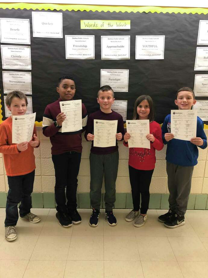 Five Elizabeth Shelton School fourth graders recently received perfect scores on the WordMaster's Challenge vocabulary test. The students are, left to right, Zack Kezelevich, Ninetjer Bazile, Charlie Carreira, Ellie Schiappa and Malekai Colao. Photo: Contributed Photo / Connecticut Post