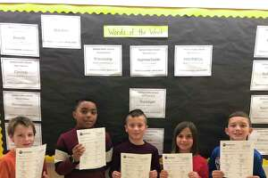 Five Elizabeth Shelton School fourth graders recently received perfect scores on the WordMaster's Challenge vocabulary test. The students are, left to right, Zack Kezelevich, Ninetjer Bazile, Charlie Carreira, Ellie Schiappa and Malekai Colao.