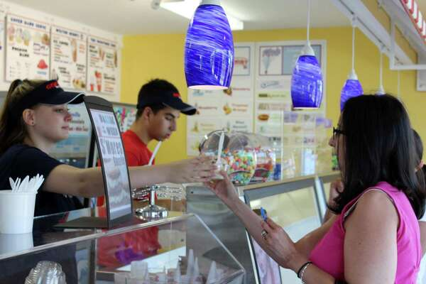 Gofer Ice Cream staff serve customers in 2017 at the chain's location in Wilton, Conn.