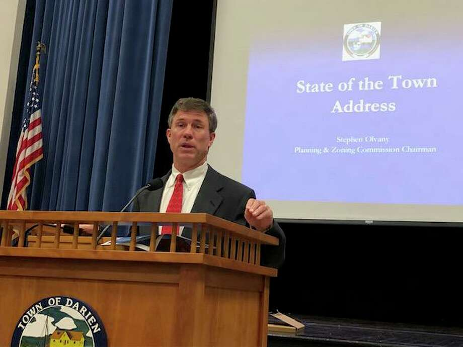 Stephen Olvany, chairman of Darien's the Planning & Zoning Commission, spoke Monday night at the RTM: State of the Town. Photo: Darien TV79 / Connecticut Post