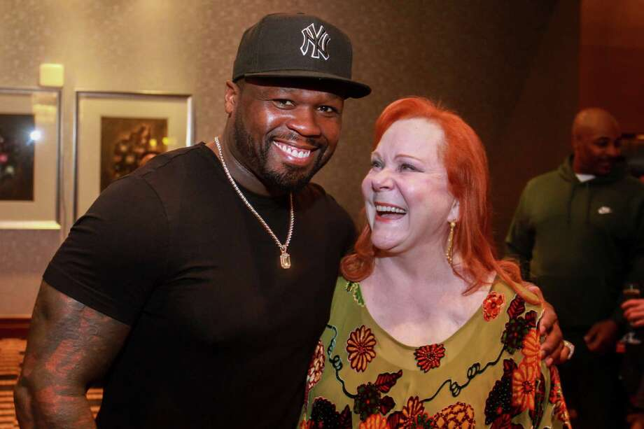 "Curtis ""50 Cent"" Jackson and Lindy Rydman at Spec's Vintage Virtuoso hosted by Spec's Charitable Foundation, and benefiting the Houston Symphony, at Royal Sonesta Hotel on December 4, 2019. Photo: Gary Fountain, Contributor / Copyright 2019 Gary Fountain"