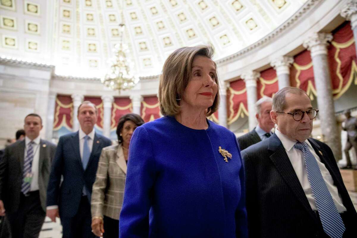 House Speaker Nancy Pelosi of California, and Chairman of the House Judiciary Committee Jerrold Nadler, D-N.Y, walk to a news conference Tuesday.