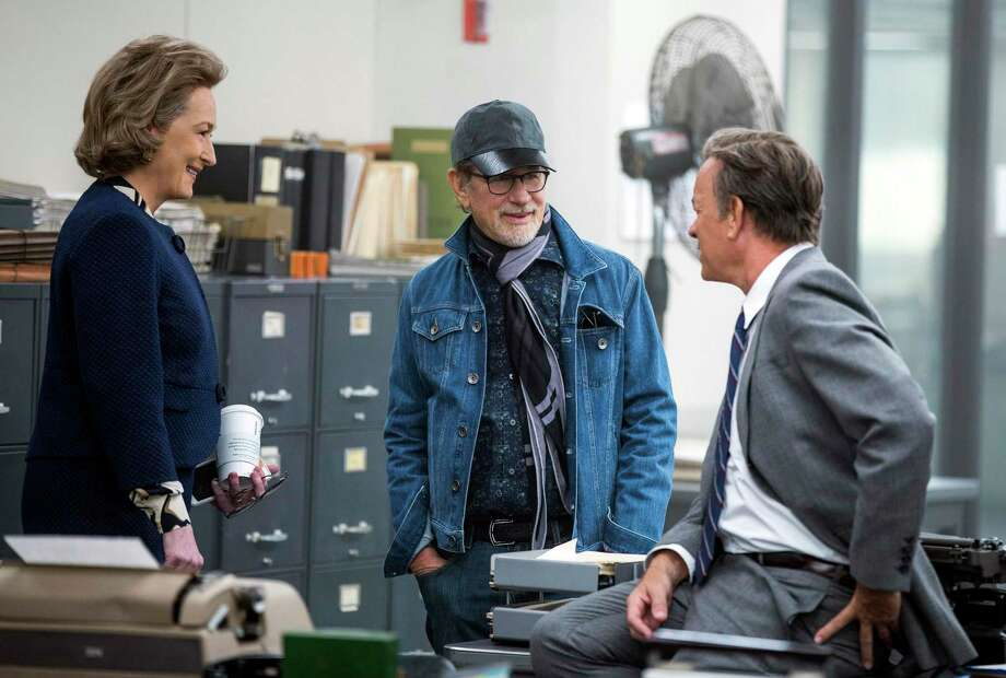 "This image released by 20th Century Fox shows actress Meryl Streep, from left, director Steven Spielberg, and actor Tom Hanks on the set of ""The Post."" Photo: Photo Credit: Niko Tavernise / Associated Press / © 2017 TWENTIETH CENTURY FOX FILM CORPORATION AND STORYTELLER DISTRIBUTION CO. LLC.  ALL RIGHTS RESERVED."