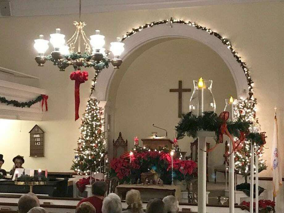 Roxbury Congregational Church will offer a Victorian Christmas service Dec. 15, 2019 at 5 p.m. The service, complete with a sanctuary adorned with evergreen, seasonal ribbons and lights. Photo: Courtesy Of Roxbury Congregational Church / The News-Times Contributed
