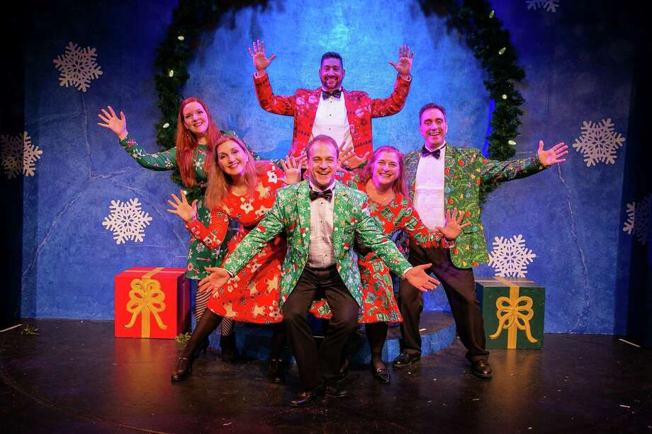 """TheatreWorks New Milford will stage its production, """"Wreck the Halls,"""" written and directed by Bradford Blake with musical direction by Charles Smith, Fridays and Saturdays at 8 p.m. through Dec. 28 as well as Dec. 15 and 22 at 2 p.m. and Dec. 26 at 8 p.m. The show features two acts of music-filled satire and burlesque that turns the last quarter of the calendar belly up. Due to adult situations and language, it is not recommended for children. Tickets are $30 for reserved seating. Students and military personnel and veterans with ID will be admitted for $25. Above, cast members Carey Van Hollen, Priscilla Squiers, Austin Tewksbury, Bret Bisaillon, Diana Matson and Alexis Vournazos rehearse a scene from the production. The theater is located at 5 Brookside Ave., but parking for the theater is behind the Catherine E. Lillis Administration Building on East Street. For more information and tickets, visit theatreworks.us or call the box office at 860-350-6863. Photo: Courtesy Of TheatreWorks / The News-Times Contributed"""