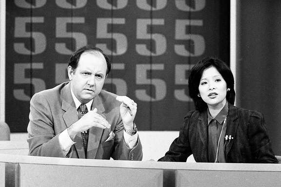 Sept. 24, 1981: Wendy Tokuda and Dave McElhatton on the set of the KPIX news, in the year Tokuda took over weekday anchor duties.