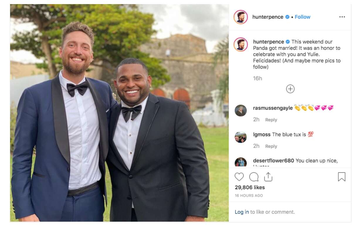 Hunter Pence attends the wedding of Pablo Sandoval.