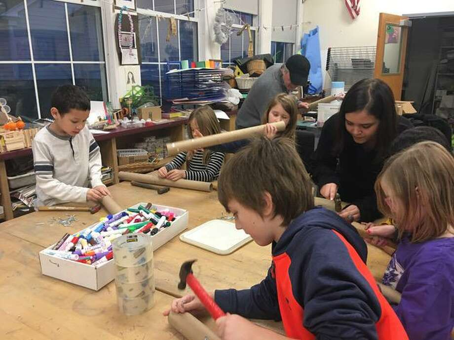 "An intergenerational musical performance of ""Elka and The Guardian Gryphon, written and directed by Leslie Elias of Grumbling Gryphons, will be presented Dec. 16 in Cornwall and Dec. 18 in Canaan. Above, children involved in the after-school program offered in local elementary schools created puppets, props and other artwork for the productions. Photo: Leslie Elias / Contributed Photo"