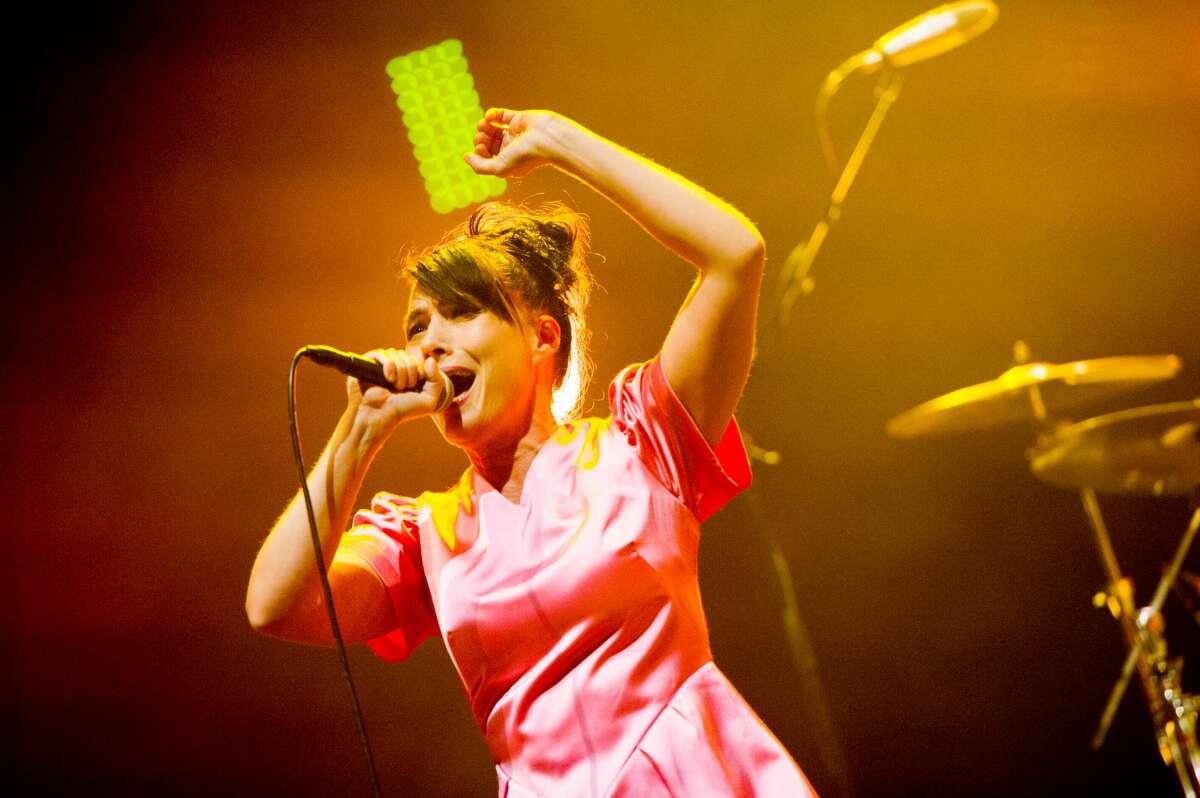 Kathleen Hanna of Bikini Kill performs onstage at O2 Academy Brixton on June 10, 2019 in London, England.
