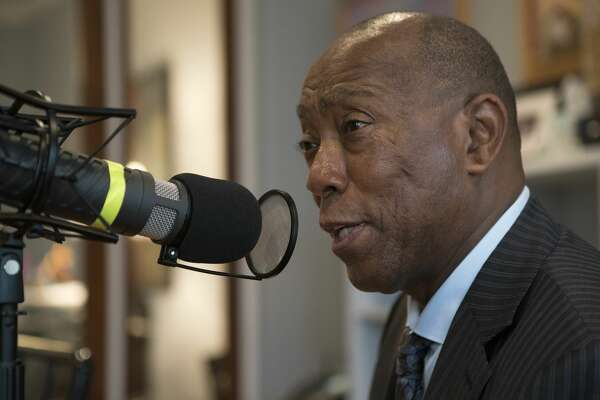 Mayor Sylvester Turner recording an episode of the Looped In podcast.