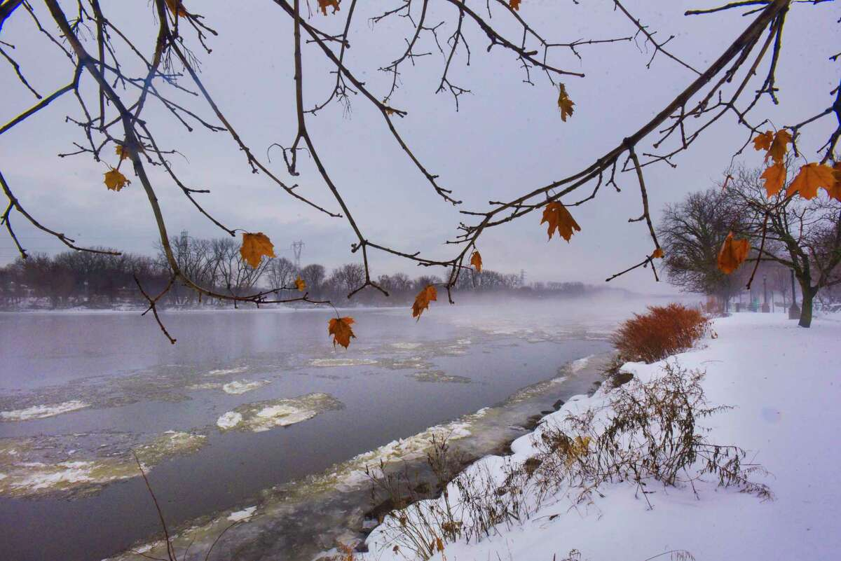 A view of fog on the Mohawk River seen from Riverside Park on Tuesday, Dec. 10, 2019, in Schenectady, N.Y. (Paul Buckowski/Times Union)