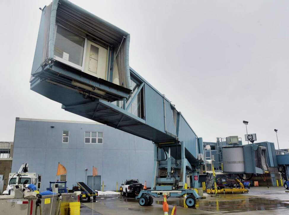 A view of one of the dual jet bridges used by Southwest Airlines, seen here at the Albany International Airport on Tuesday, Dec. 10, 2019, in Colonie, N.Y. (Paul Buckowski/Times Union)