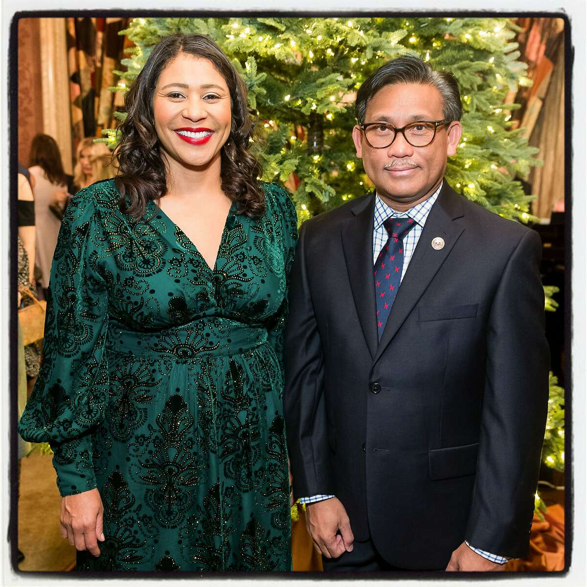Mayor London Breed and Philippines Consul General Henry Bensurto, dean of the Consular Corps, at the Protocol Holiday Party. Dec. 4, 2019.