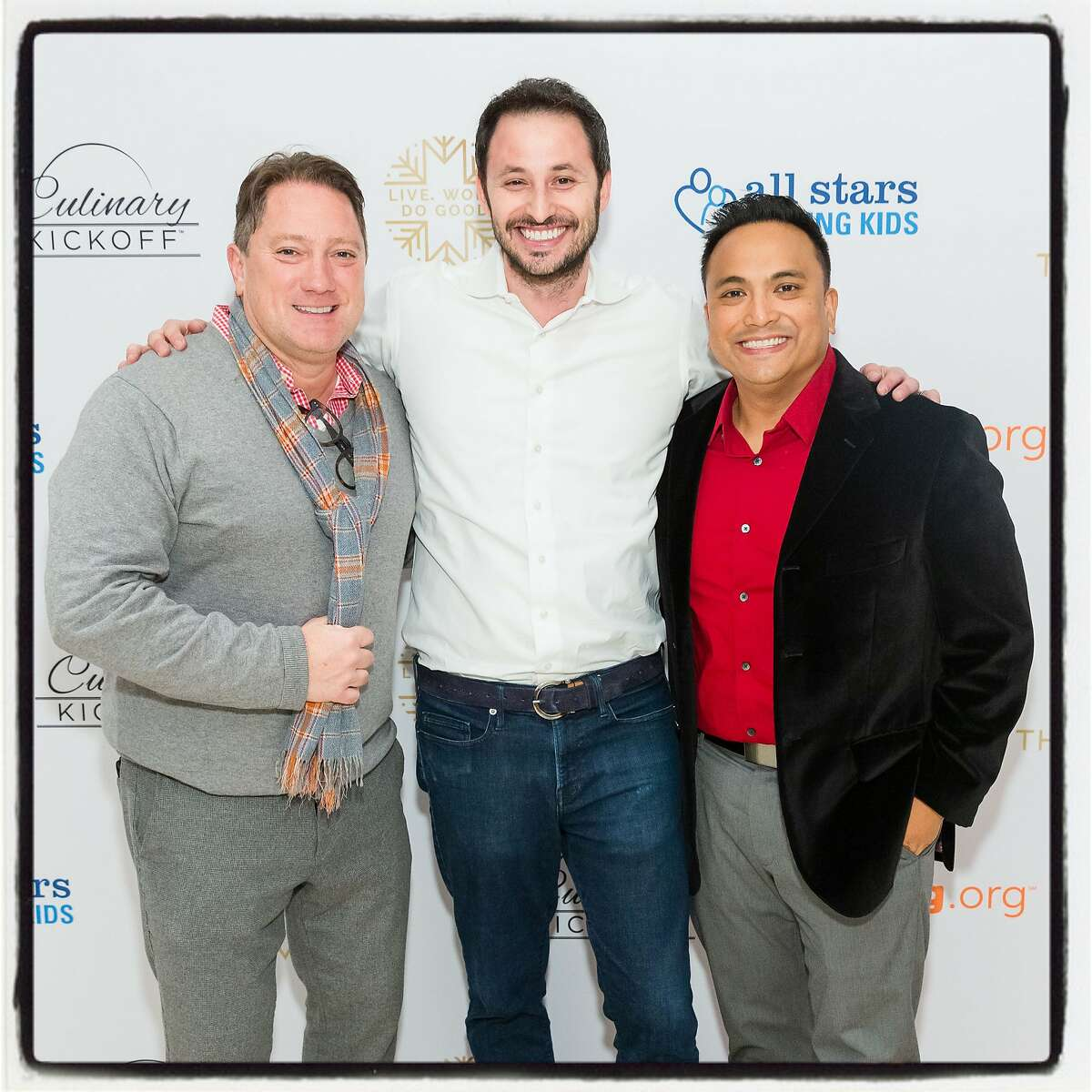 Liam Mayclem (left) The Vault co-owner Ryan Cole and Franco Finn at the All Stars Helping Kids fundraiser. Dec. 3, 2019.