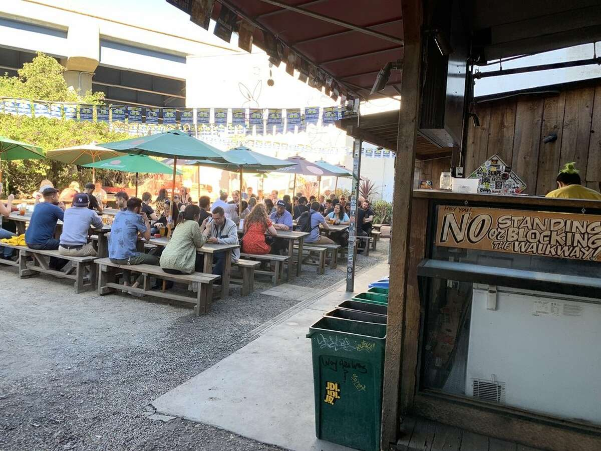 The crowded patio at Zeitgeist.