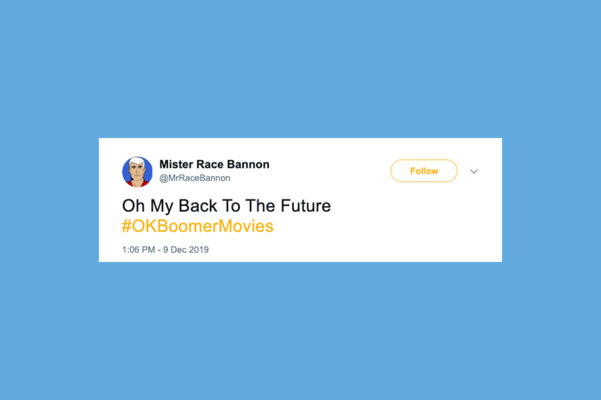 Twitter users parody movie titles with their best boomer puns.