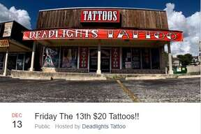 Deadlights Tattoos is offering $20 tattoos for Friday The 13th at its location at 5418 Glen Ridge Drive.