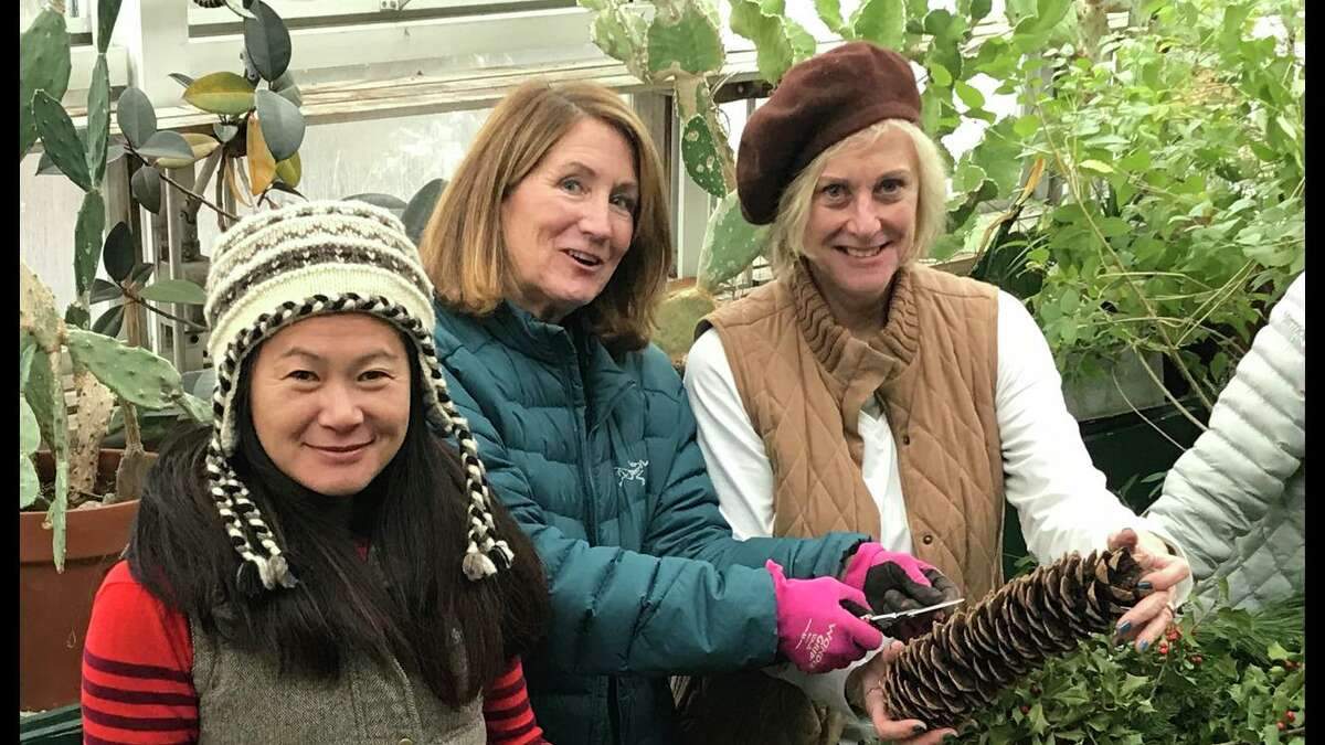 Ty Tan of the New Canaan Beautification League; Muffy Lewis of the New Canaan Garden Club and Jill Ernst of the Beautification League.