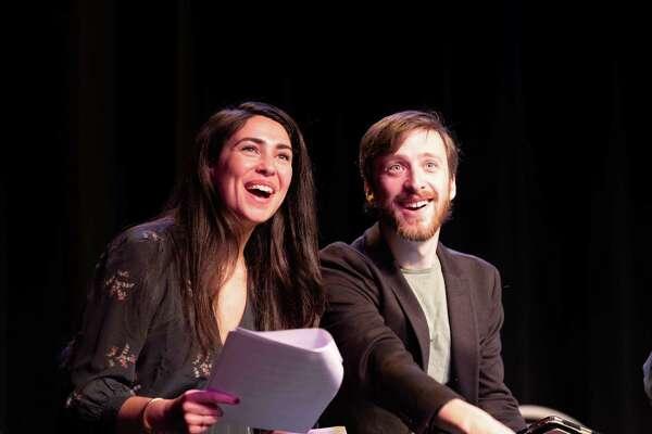 "Actors Kim Maresca and Sam Plattus in a 2019 performance of Ray Bradbury's ""Kaleidoscope."""