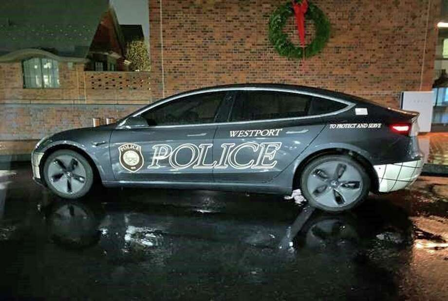 Westport Police Department's new electric 2020 Telsa Model 3. Photo: Contributed