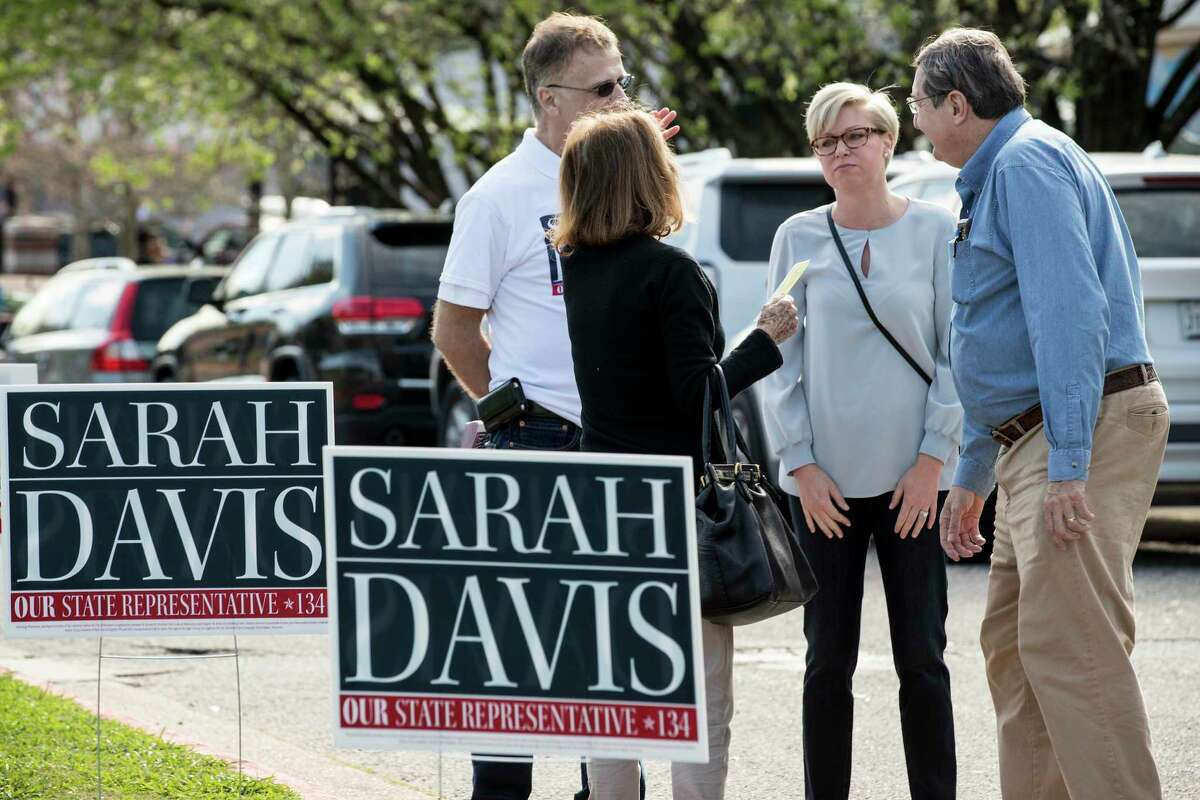State Rep. Sarah Davis, R-Houston, speaks to voters in the primary election outside the polling place at West University Elementary on Tuesday, March 6, 2018, in Houston. Davis is running for re-election in the Texas House of Representatives, District 134. ( Brett Coomer / Houston Chronicle )