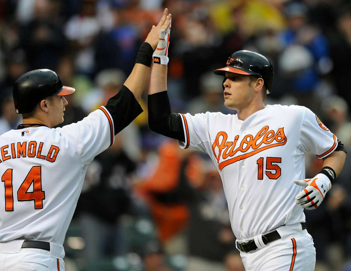 Baltimore Orioles' Matt Wieters, right, is congratulated by Nolan Reimold after Wieters' two-run home run against the New York Mets in the second inning of a baseball game Wednesday, June 17, 2009, in Baltimore. (AP Photo/ Gail Burton)