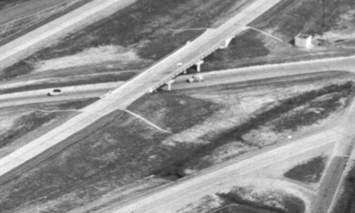 Closeup of Shepherd interchange with North Freeway, circa 1950.