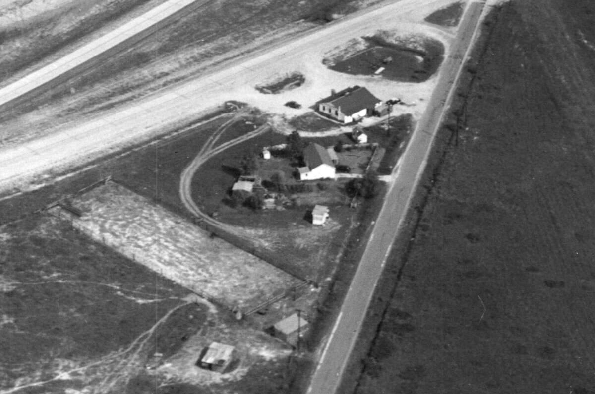 Shepherd interchange with North Freeway, circa 1950. Businesses unidentified.