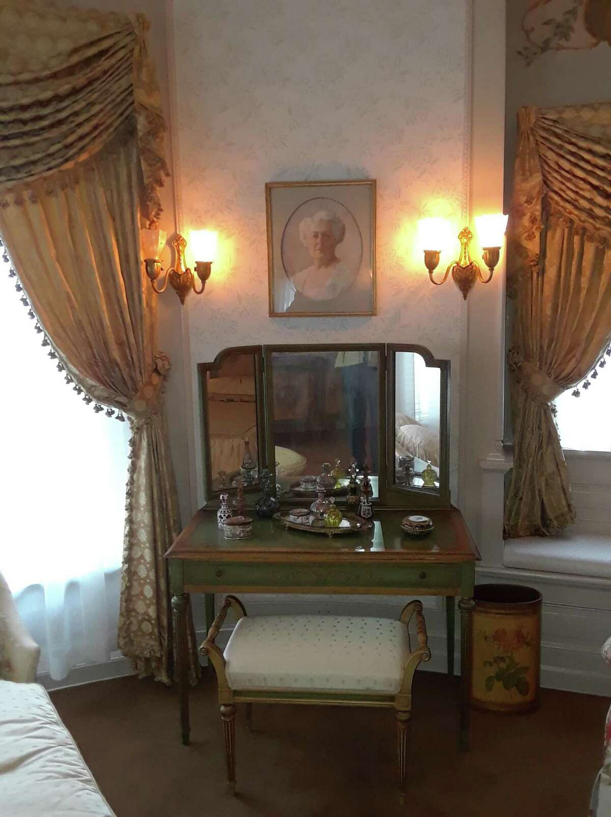 The Hotchkiss-Fyler House, home of the Torrington Historical Society at 192 Main St., is open for holiday tours starting Dec. 12. Above, Gertrude Fyler-Hotchkiss' dressing table in her recently restored bedroom.