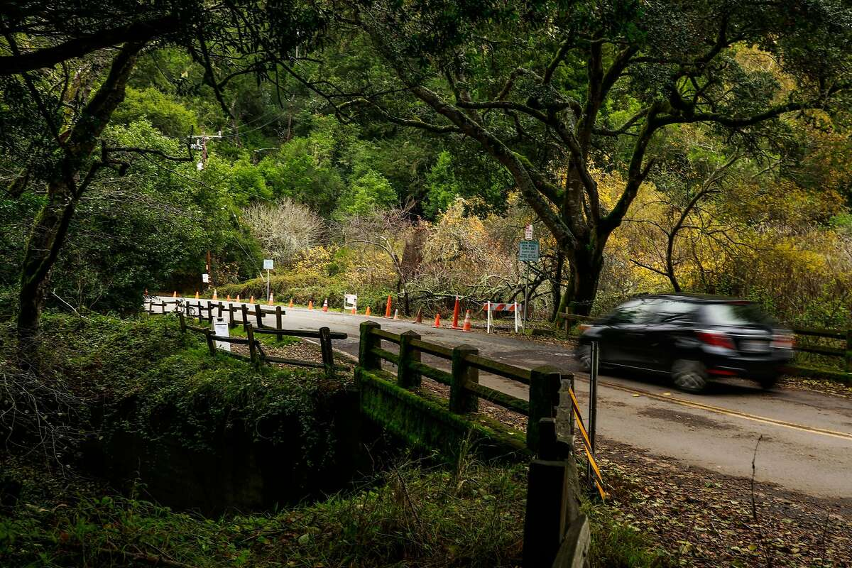 A car passes by the Muir Woods Road Bridge over the Redwood Creek in Mill Valley, California, on Monday, Dec. 9, 2019. The bridge will be replaced.